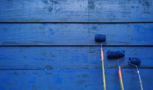 Blue paint wall