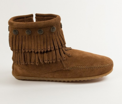 Minnetonka Women's Double Fringe Size Zip Boot