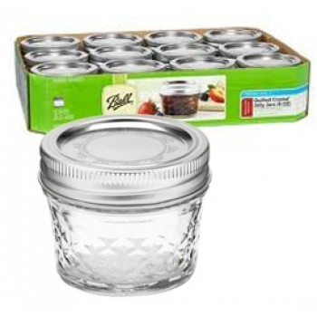 Ball 4 oz. Quilted Crystal Jelly Jars Case of 12