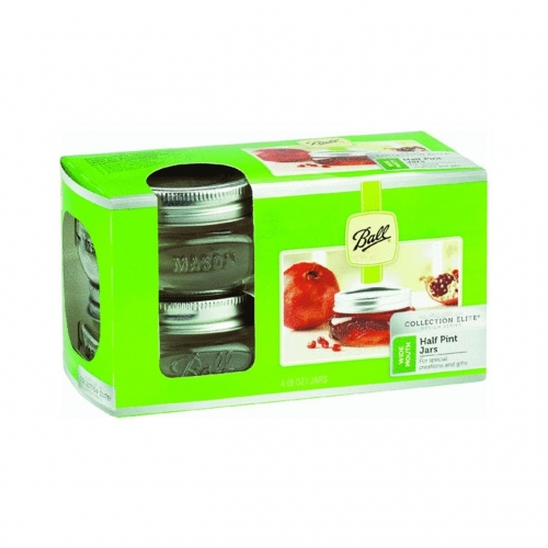 Ball Collection Elite Design Series Wide Mouth Half Pint Jars 4 Pk.