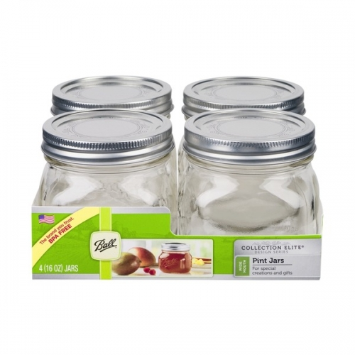 Ball Collection Elite Design Series Wide Mouth Pint Jars 4 Pk.