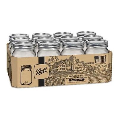 Ball Smooth-Sided Regular Mouth Pint Canning Jars 12 Pack