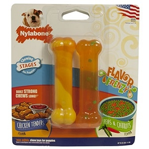 Nylabone Flavor Frenzy Puppy Twin Pack- Chicken Tenders and Peas & Carrots