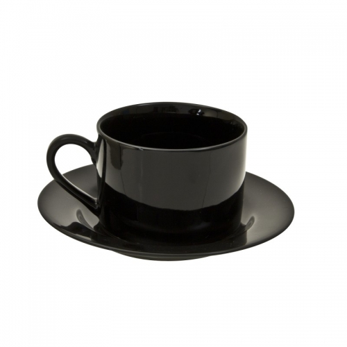 Black Cup and Saucer Plate
