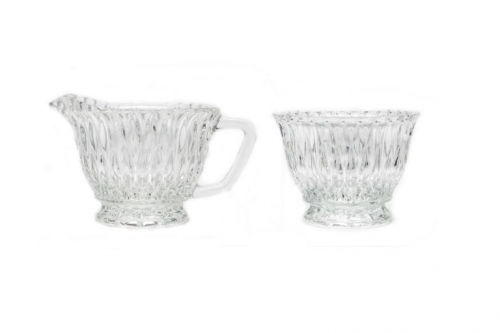 Vintage Cut Glass Creamer and Sugar