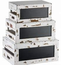 White Distressed Chalkboard Crates