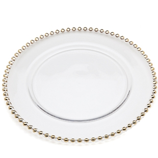 Gold Beaded Charger Plate, 13