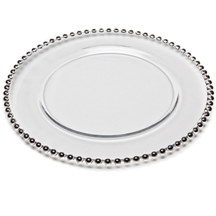 Silver Glass Beaded Charger Plate, 13