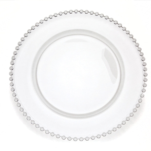 Clear Glass Beaded Charger, 13