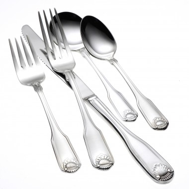 Silver Shell Flatware, Cocktail Fork