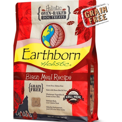 Earthborn Holistic Oven Baked Grain Free Bison Meal Dog Treats, 2lb.