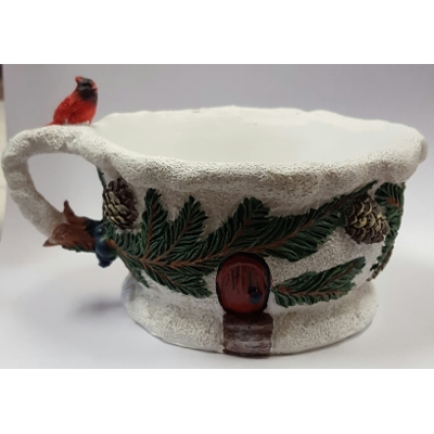 Winter/Cardinal Tea Cup Planter by Georgetown USA