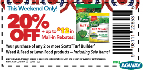 This Weekend Only! 20% OFF Scotts Turf Builder W&F