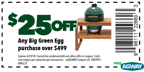 $25 off any Big Green Egg Grill Purchase over $499