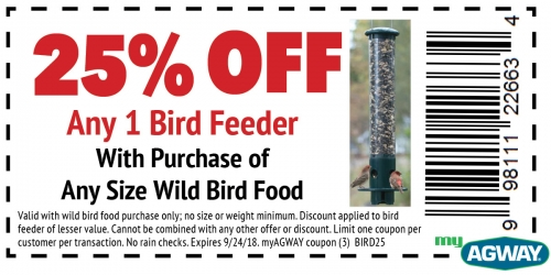 25% OFF Any One Bird Feeder with Purchase