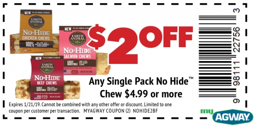 $2 Off Any Single Pack No Hide Chew $4.99 or more
