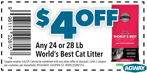 $4 Off Any 24 or 28 Lb World's Best Cat Litter