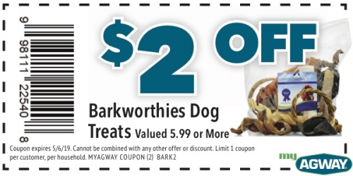 $2 Off Bark Worthies Dog Treats
