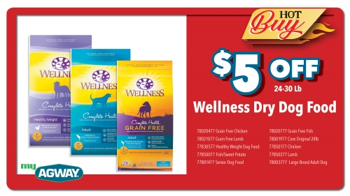$5 off Wellness Dry Dog Food