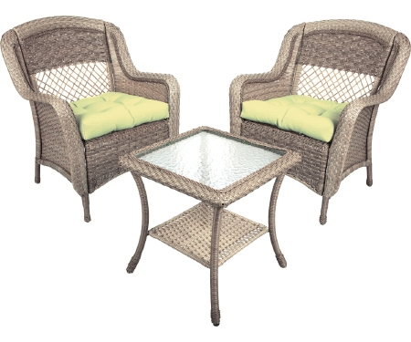 Resin Wicker 3pc. Driftwood Patio Set