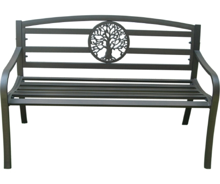 Steel Park Bench with Tree Design