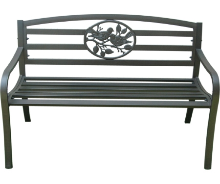 Steel Park Bench with Bird Design