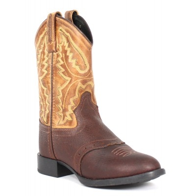 Old West Youth Tan Oiled Rust Boot