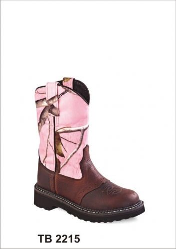 Old West Youth Pink Camo Boot