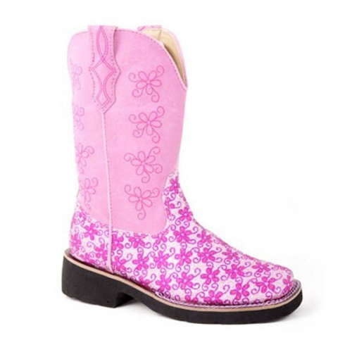 Roper Youth Pink Glitter Floral Boot