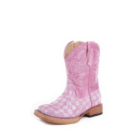 Roper Youth Pink Glitter Check Boot