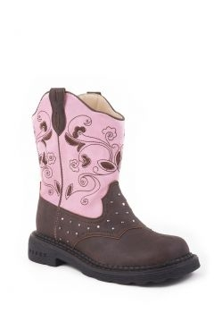 Roper Youth Floral Pink Light-Up Boot