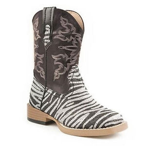 Roper Youth Zebra Glitter Boot