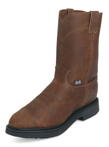 Justin Men's Conductor Brown Pull-On Workboot
