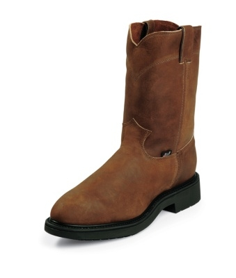 Justin Men's Conductor Brown STEEL TOE Pull-On Workboot