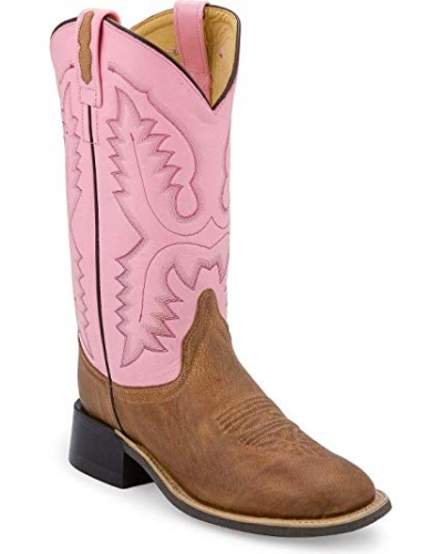 Old West Women's Pink/Tan Leather Boot
