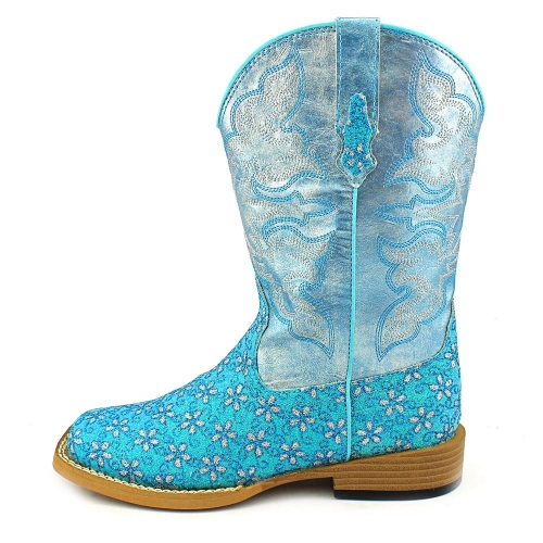 Roper Youth Blue Glitter Floral Boot