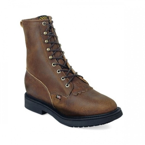 Justin Men's Conductor Brown STEEL TOE Lace-Up Workboot