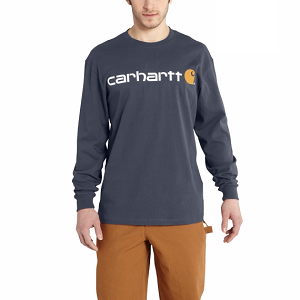 Carhartt Long-Sleeve Logo T-Shirt - Bluestone