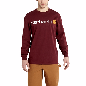 Carhartt Long-Sleeve Logo T-Shirt - Port