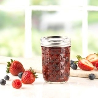 Ball Quilted Crystal Jelly Glass Jar 12oz