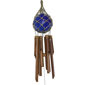 "4"" Blue Glass Ball Bamboo Wind Chime"
