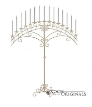 15-Lite Fan Floor Candelabra - Gold