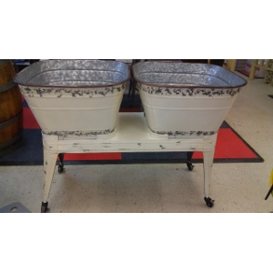BEVERAGE STAND & 2 TUBS - DISTRESSED GALVANIZED