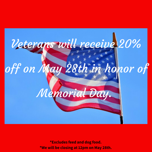 Memorial Day 20% OFF for Veterans