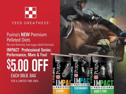 $5.00 Off Purina® Impact® Horse Feeds