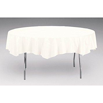 White Octy-Round Plastic Tablecover