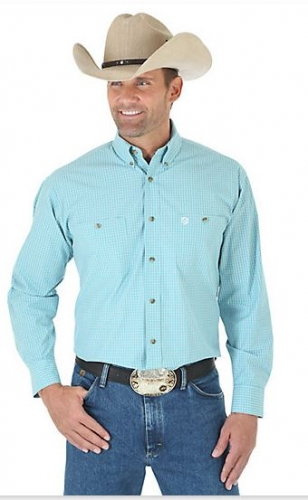 George Strait Long Sleeve Button Down Two Pocket Plaid