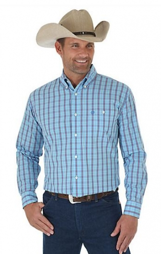 Wrangler Western Classic Long Sleeve Button Down Plaid Shirt