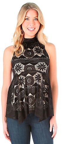 Sleeveless Mock Neck Lace Solid Top with Handkerchief Hem
