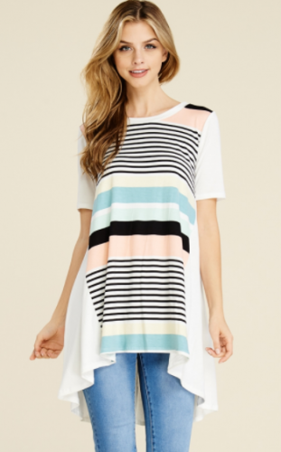 Vari Stripe Hi Low Swingy Tunic